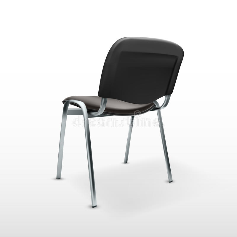 3D Modern Office Chair Black Cloth. Back View vector illustration