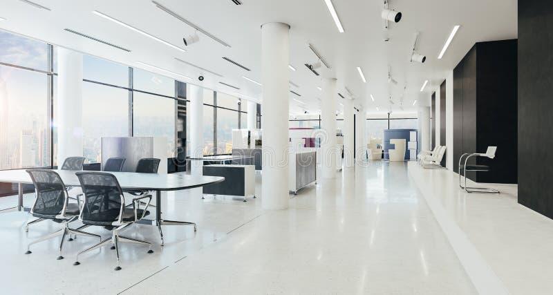 3d modern office space interior render. 3d modern clean office space interior render