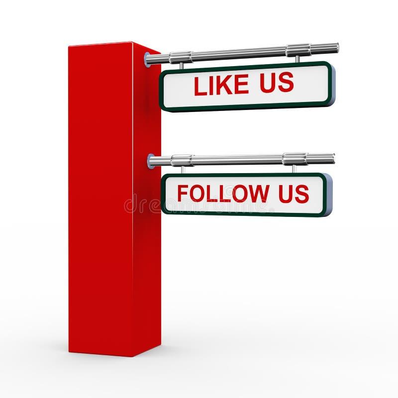 3d modern signpost follow us stock illustration