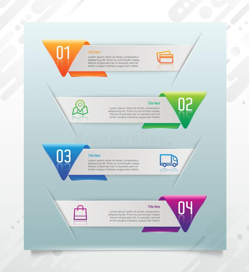 3D modern step triangle infographic with paper effect concept for finance corporate. Step infographic can be used for presentation stock illustration