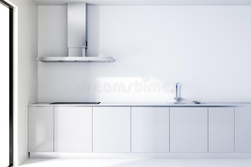 3d modern white kitchen stock illustration