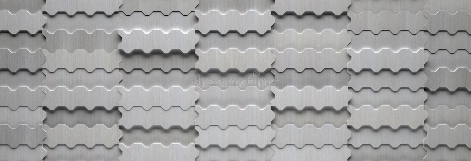 3D Modern Wide Metal Background. A 3D modern wide brushed aluminum metal background stock illustration