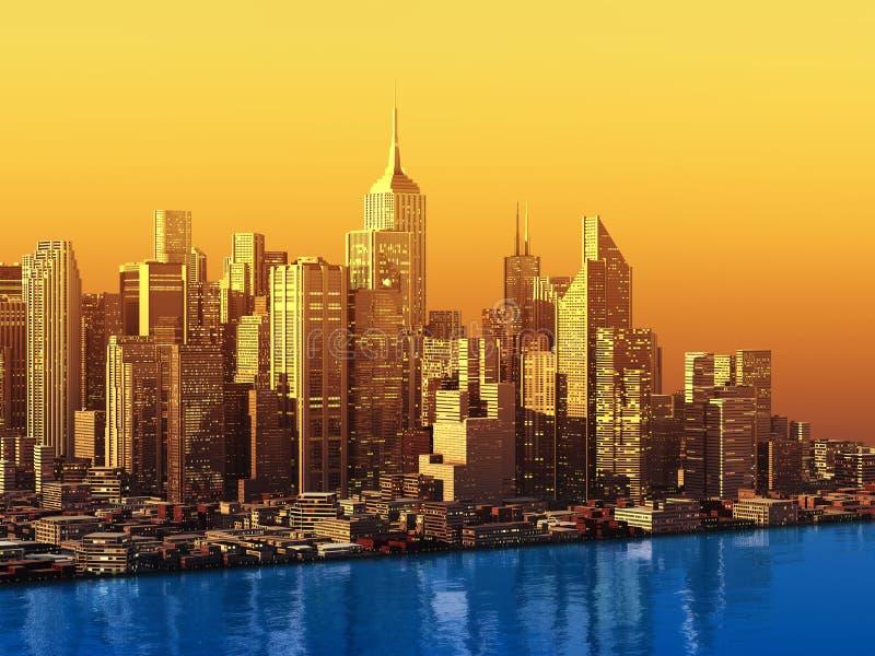 3D moderne stad op water stock illustratie