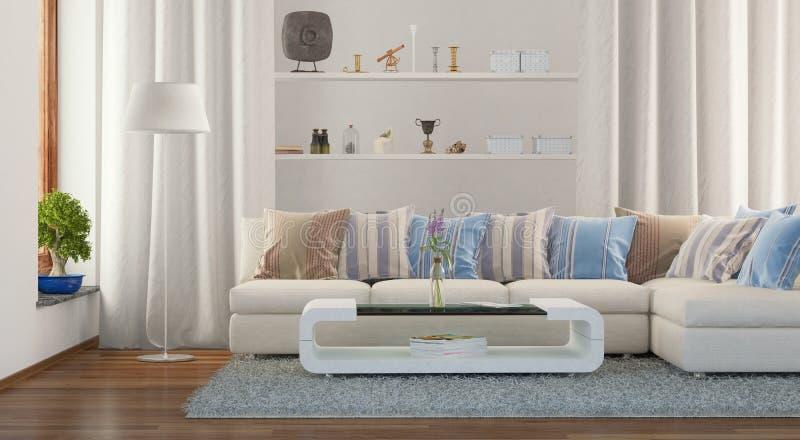 3d - moderne woonkamer stock fotografie