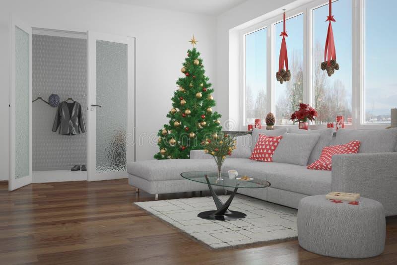 3d - moderne woonkamer - Kerstmis royalty-vrije illustratie