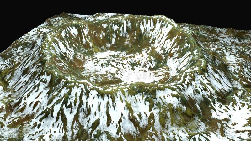 3d modernos rendem a cratera com neve e a superfície verde, esta na parte de terra, contexto gerado por computador ilustração do vetor