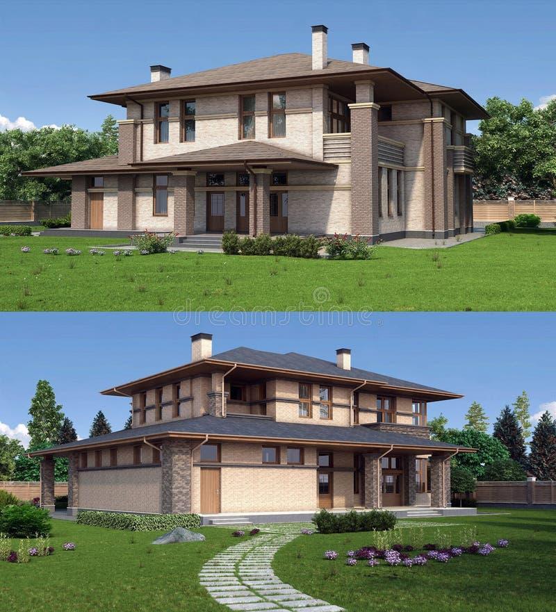 3D modieus plattelandshuisje royalty-vrije illustratie