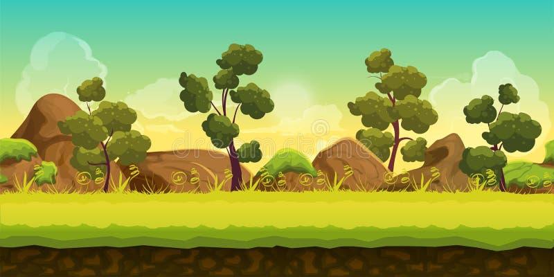 2d modiga landskap för skog och för stenar för applikationer och datorer för lekar mobila vatten för vektor för ny illustration f stock illustrationer