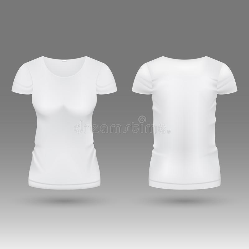 3d molde realístico vazio do vetor da camisa da mulher branca t isolado ilustração do vetor