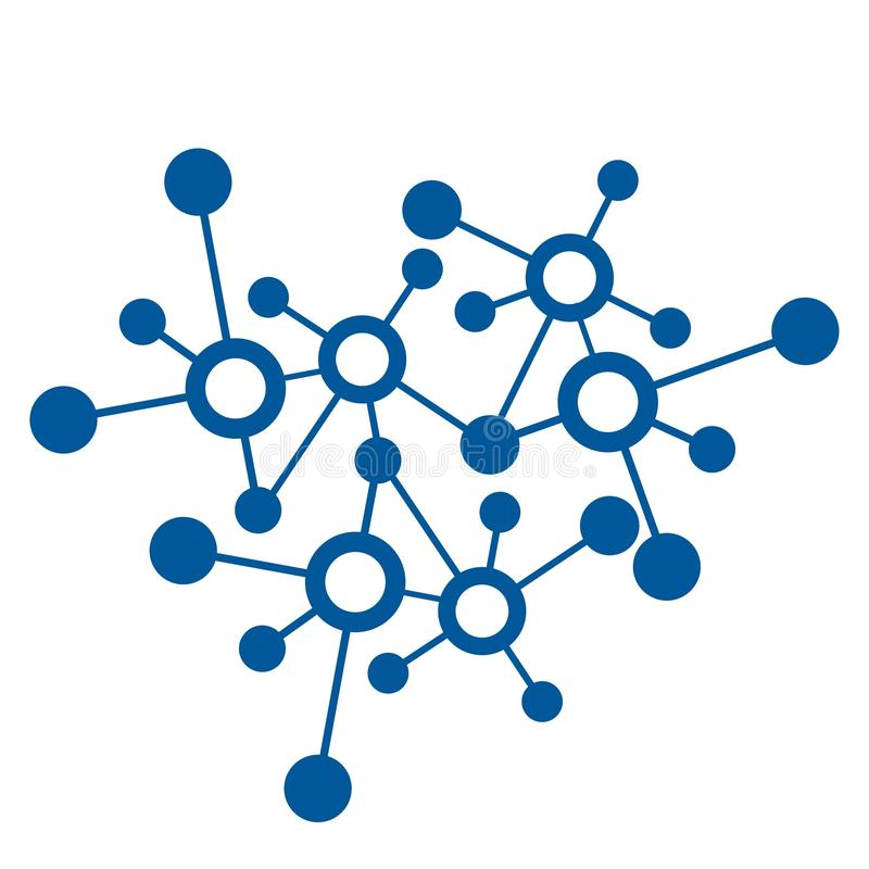 Blue 3d molecular or digital network connection pattern and vector icon. 3d molecular or digital network connection pattern and vector icon royalty free illustration