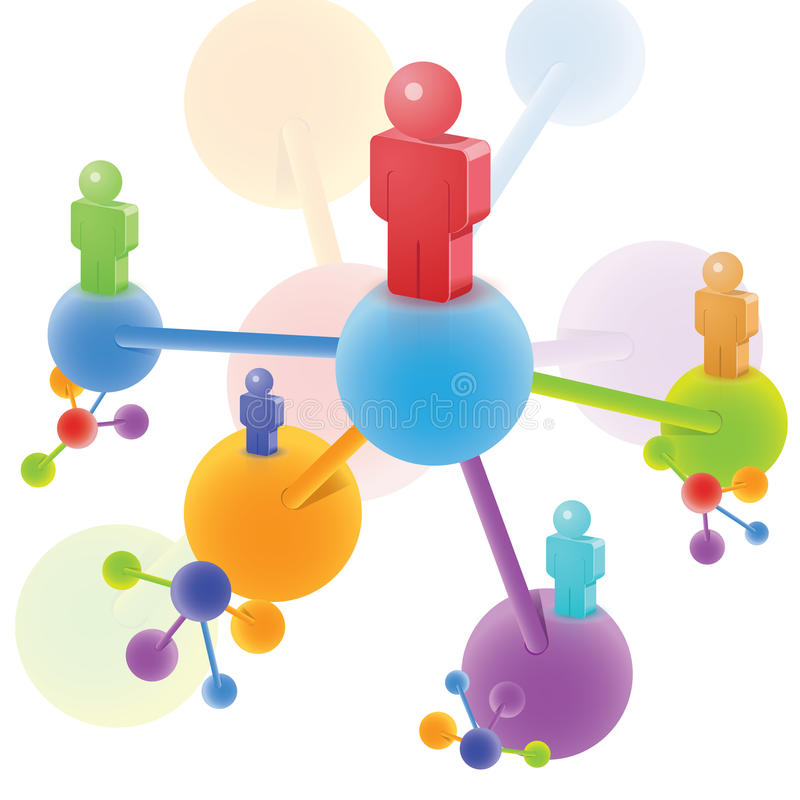 3D Molecule and People vector illustration