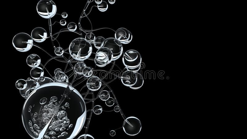 3D molecules of atomen op zwarte achtergrond Abstracte moleculaire structuur met witte transparante sferische deeltjes vector illustratie