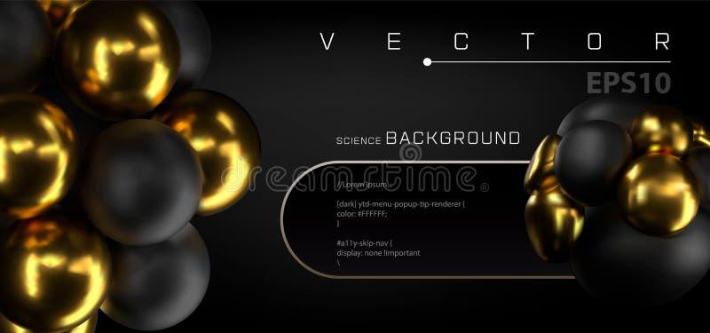 3d molekuły lub atomu projekta abstrakcjonistyczny tło Złoty czarny sheres sztandar Wektorowa ilustracja piłki textured z royalty ilustracja