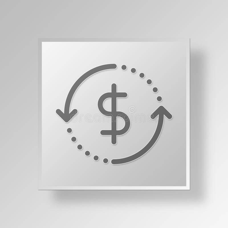 3D money back Button Icon Concept royalty free illustration