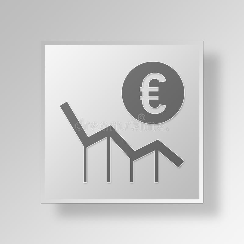 3D Money Lost icon Business Concept royalty free illustration