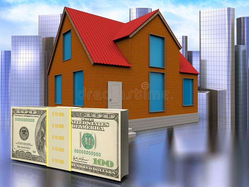 3d money over city. 3d illustration of cottage with money over city background royalty free illustration
