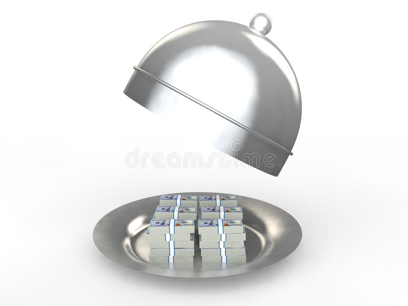 3d money stacks in a dish royalty free stock photo