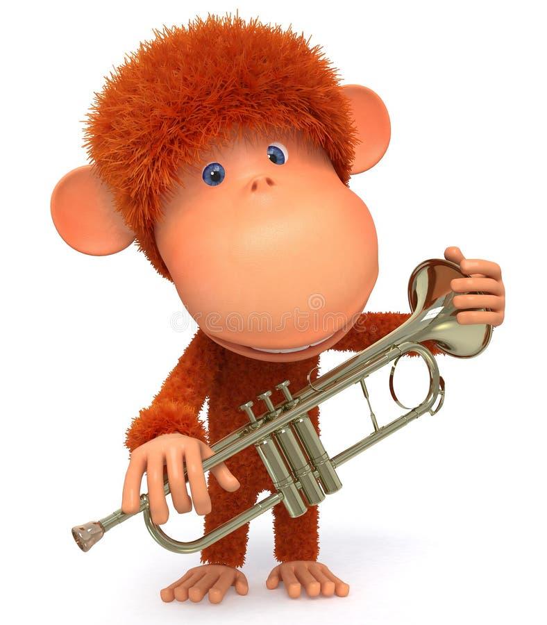 3d monkey blows the trumpet. MUSICAL improvisation on wind instruments stock illustration
