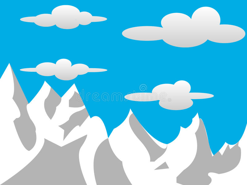 2D montagnes avec des nuages image libre de droits