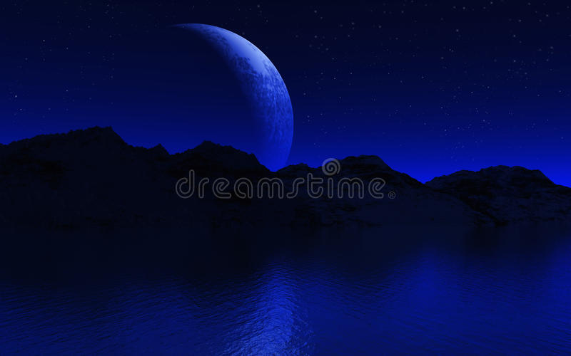3D moon and mountains landscape royalty free illustration