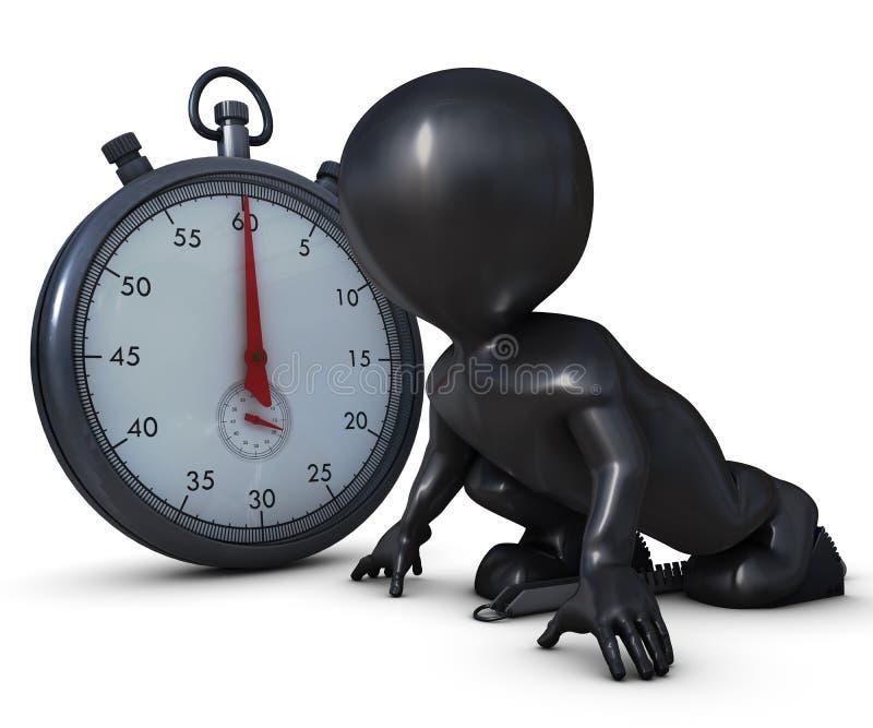 3D Morph l'uomo sui blocchetti cominciare e sul cronometro illustrazione di stock