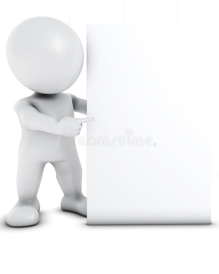 3D Morph Man with blank sign. 3D Render of Morph Man with blank sign stock illustration