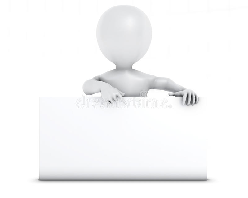 3D Morph Man with blank sign. 3D Render of Morph Man with blank sign royalty free illustration