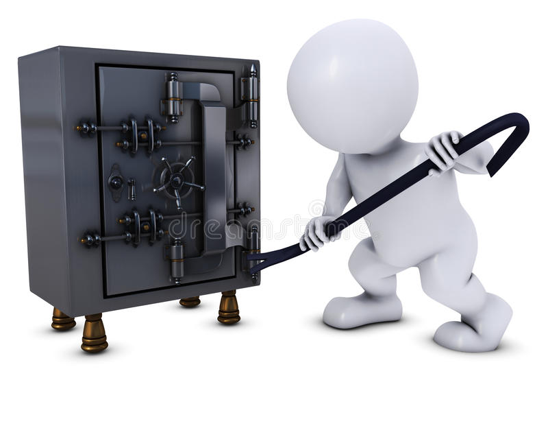 3D Morph Man breaking into a safe. 3D Render of Morph Man breaking into a safe stock illustration