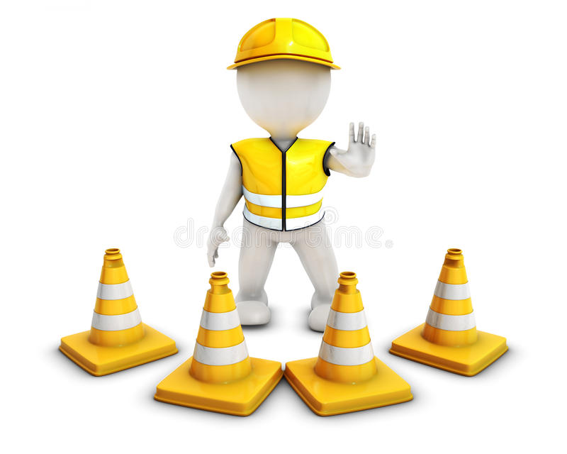 3D Morph Man Builder with Caution Cones. 3D Render of Morph Man Builder with Caution Cones royalty free illustration