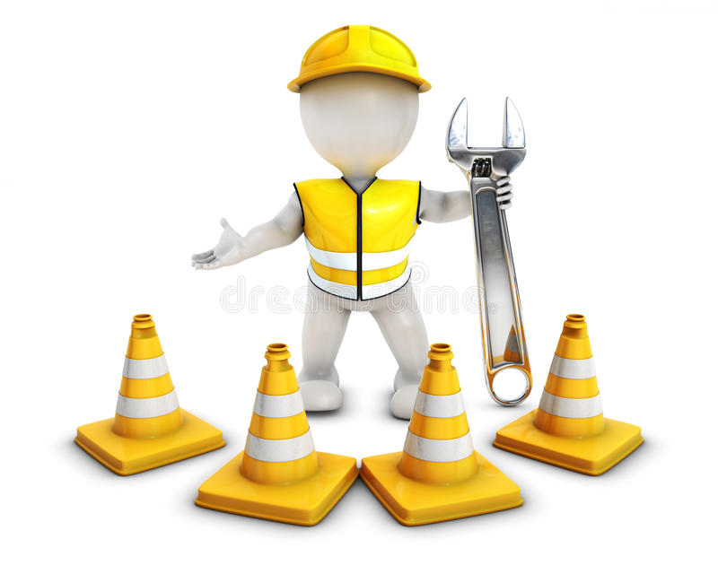 Download 3D Morph Man Builder With Caution Cones Stock Illustration - Image: 43978851