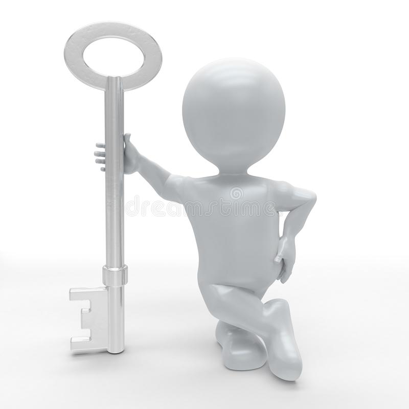 3D Morph Man Builder with key. 3D Render of Morph Man Builder with key royalty free illustration