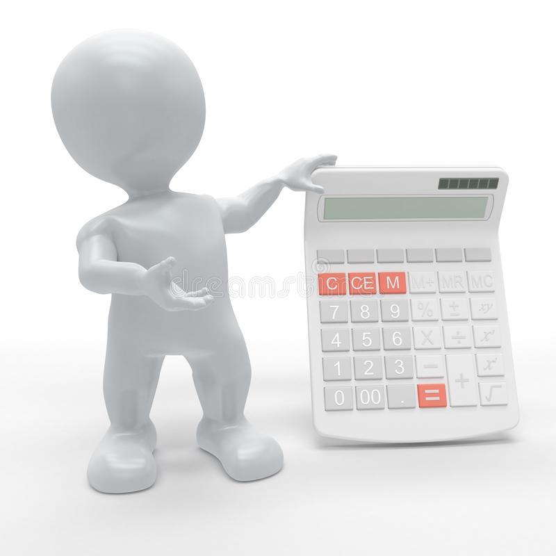 3D Morph Man with Calculator. 3D Render of Morph Man with Calculator vector illustration