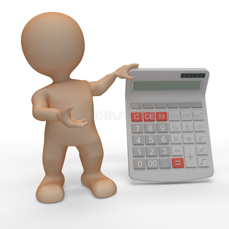 3D Morph Man with Calculator. 3D Render of Morph Man with Calculator royalty free illustration
