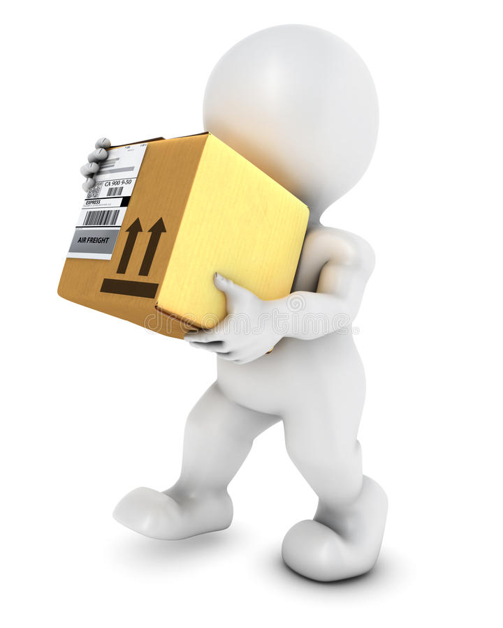 3D Morph Man with cardboard box. 3D Render of Morph Man with cardboard box stock illustration
