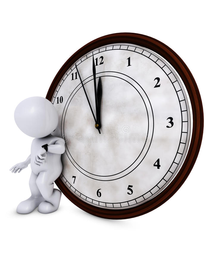 3D Morph Man with clock before midnight vector illustration