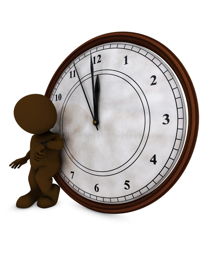 3D Morph Man with clock before midnight. 3D Render of Morph Man with clock before midnight royalty free illustration