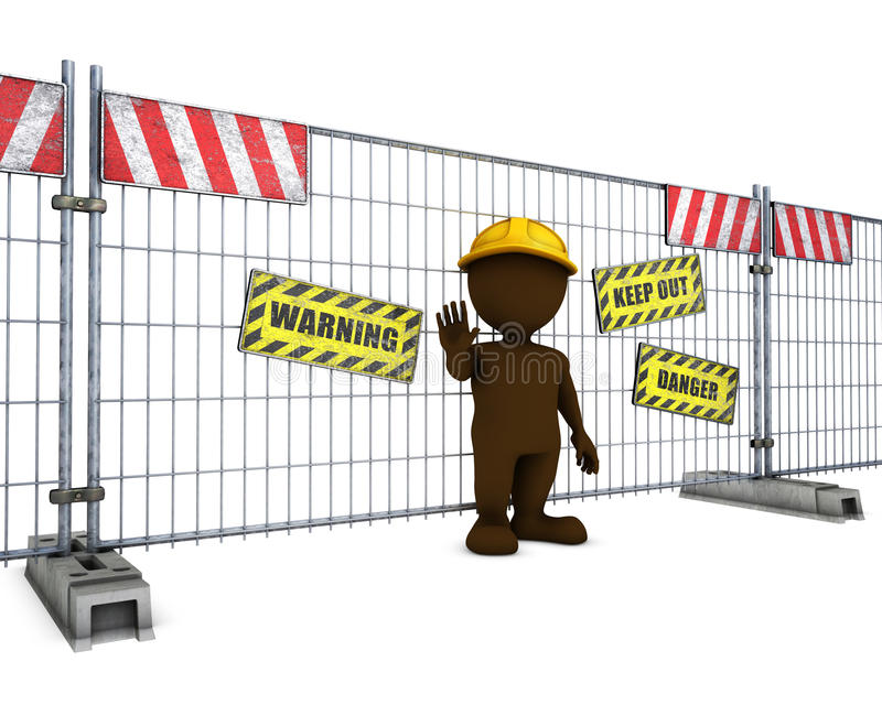 3D Morph Man at Construction Fence. 3D Render of Morph Man at Construction Fence stock illustration