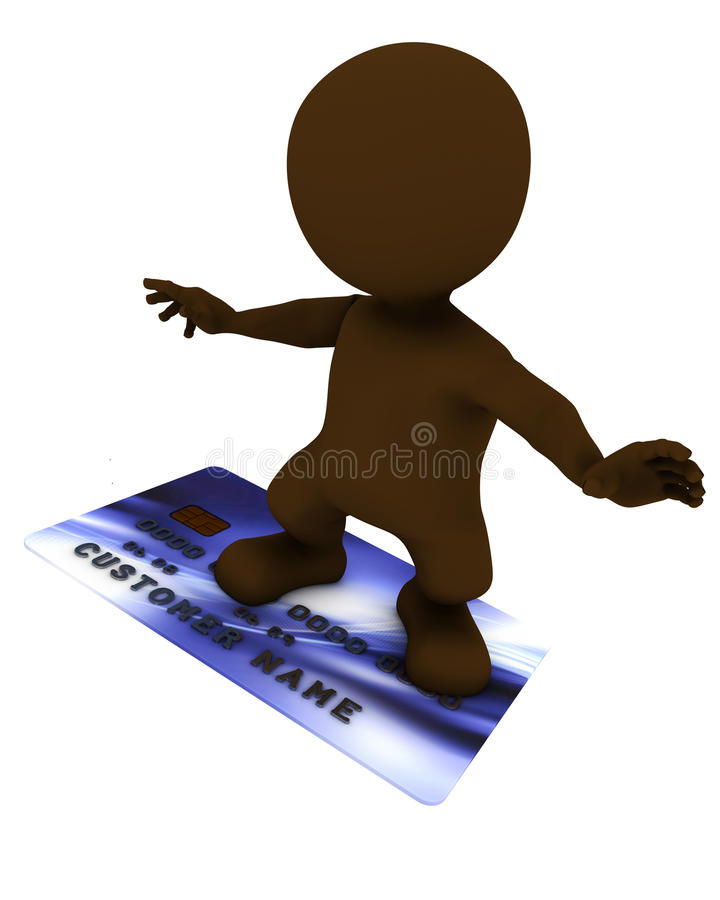 3D Morph Man with credit card. 3D Render of Morph Man with credit card stock illustration