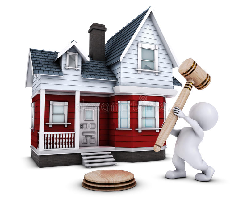 3D Morph Man with house and gavel. 3D Render of Morph Man with house and gavel royalty free illustration