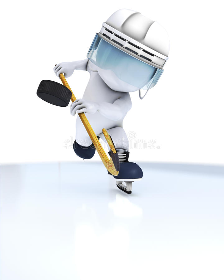 3D Morph Man playing ice hockey. 3D Render of Morph Man ice hockey royalty free illustration