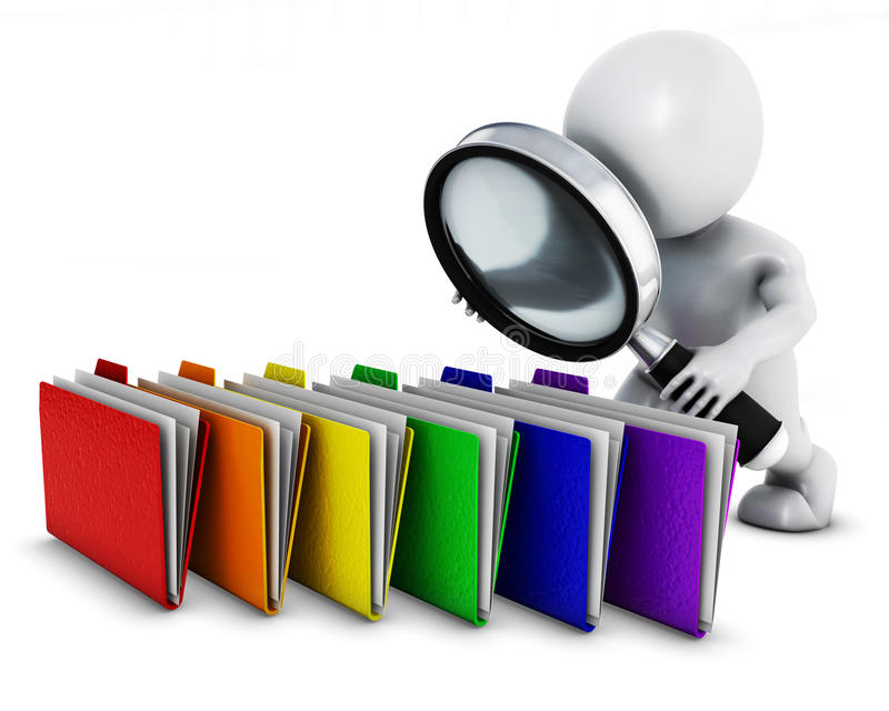 3D Morph Man searching folders with magnifying glass. 3D Render of Morph Man searching folders with magnifying glass vector illustration