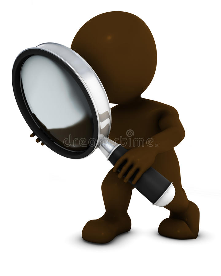 3D Morph Man searching with magnifying glass. 3D Render of Morph Man searching with magnifying glass royalty free illustration