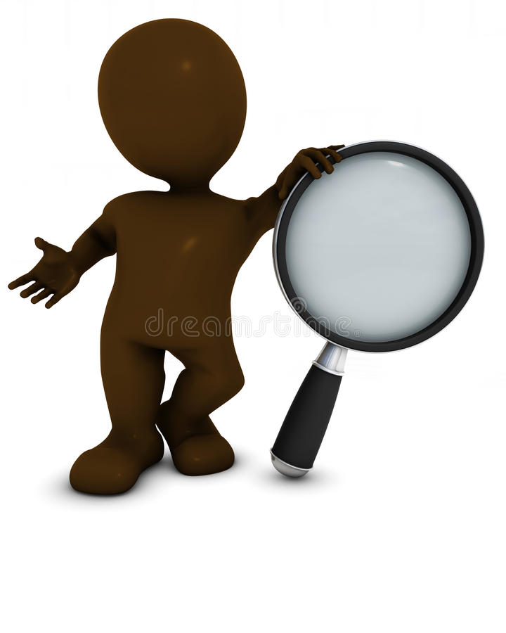 3D Morph Man searching with magnifying glass. 3D Render of Morph Man searching with magnifying glass stock illustration