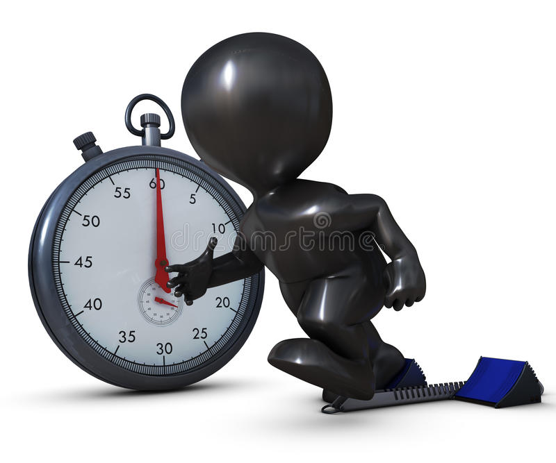 3D Morph Man on starting blocks and stop watch stock illustration