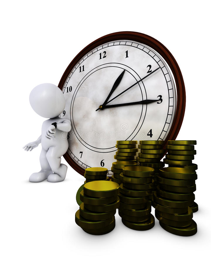 3D Morph Man time is money. 3D Render of Morph Man time is money vector illustration