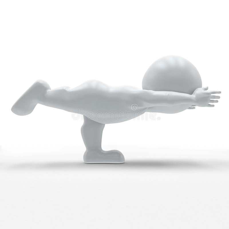 3D Morph Man in yoga pose. 3D Render of Morph Man in yoga pose royalty free illustration