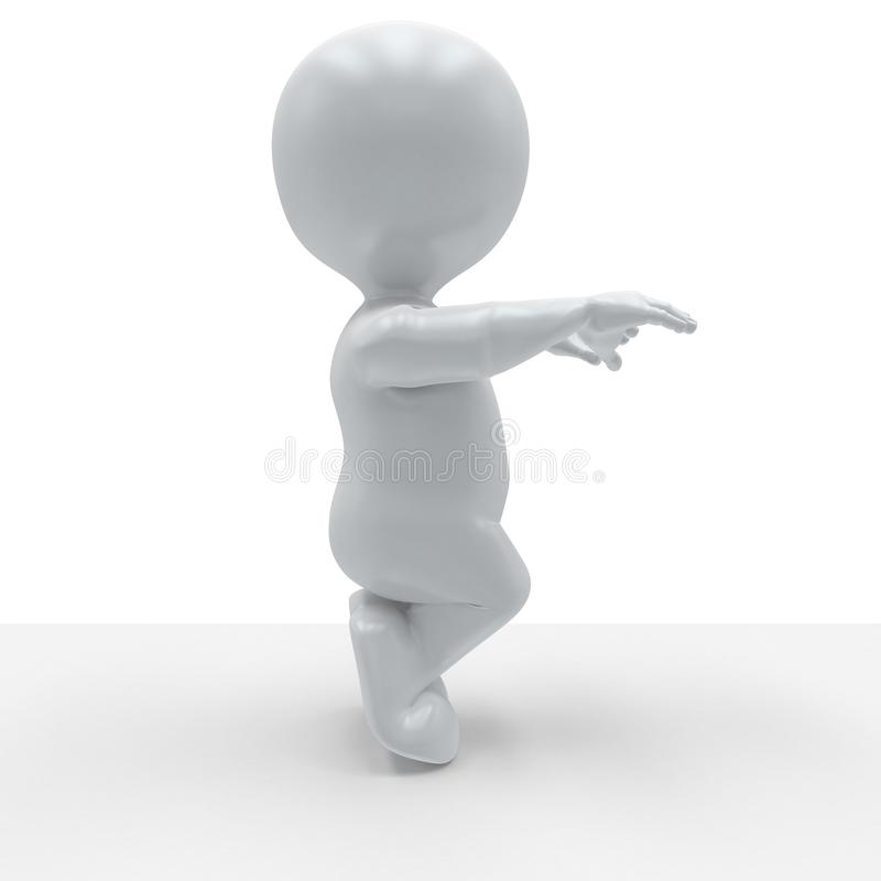 3D Morph Man in yoga pose. 3D Render of Morph Man in yoga pose stock illustration