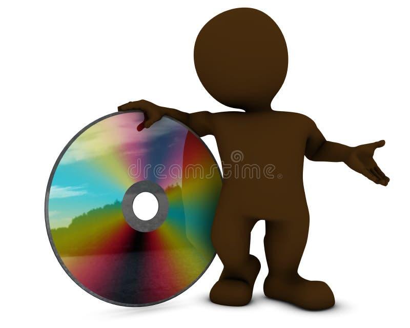 3D Morph-Mens met DVD-schijf vector illustratie