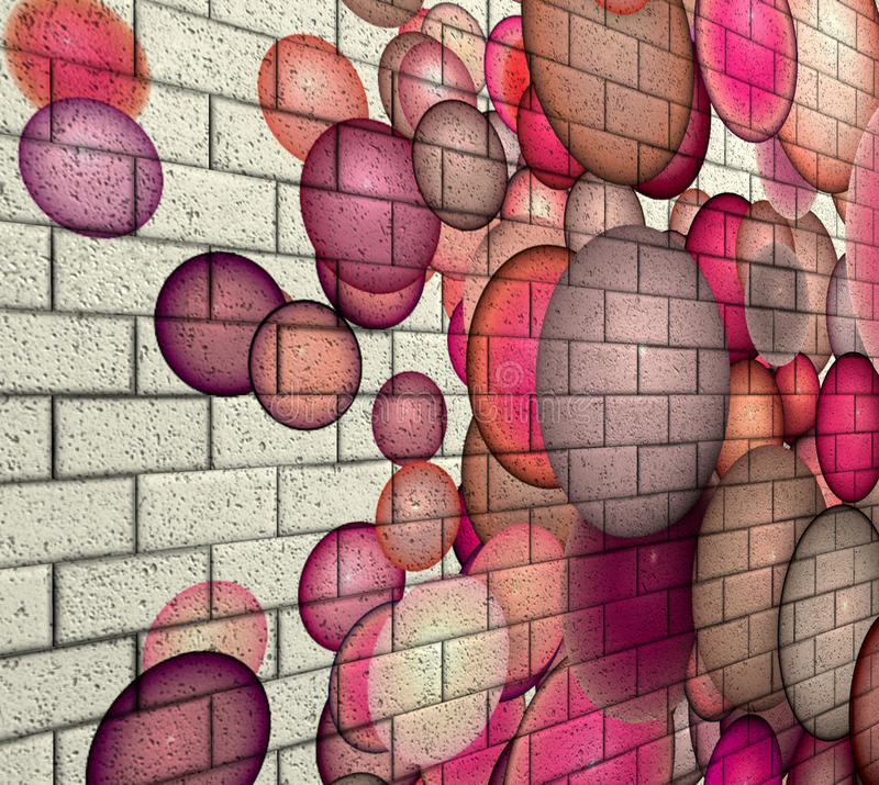 3d mosaic tile brick wall with pink bubble pattern royalty free illustration