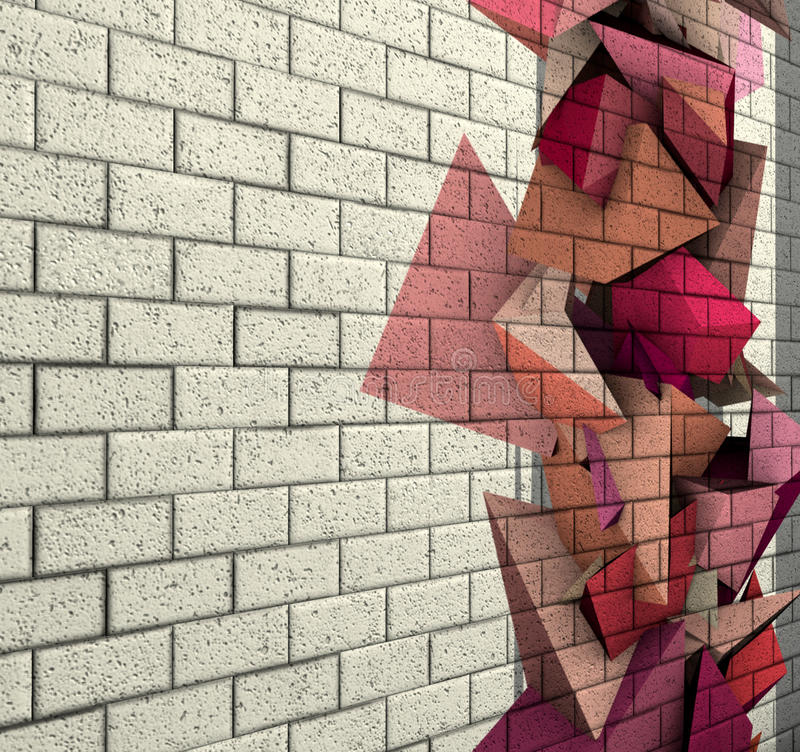 3d mosaic tile brick wall with pink fragmented shape vector illustration
